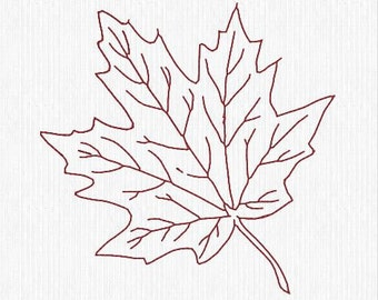 Embroidery Design Pattern File Instant Download - Fall Leaf Redwork for Tote Bag, Pillow, Mug Rug, or any Room Decor