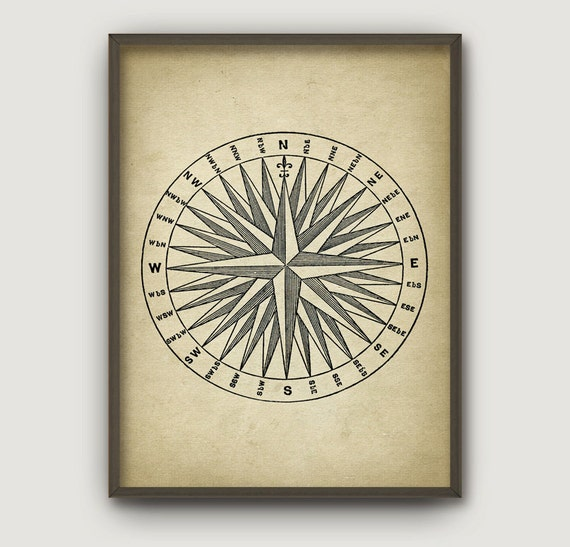Vintage Compass Wall Decor : Vintage compass rose aged paper style wall art by
