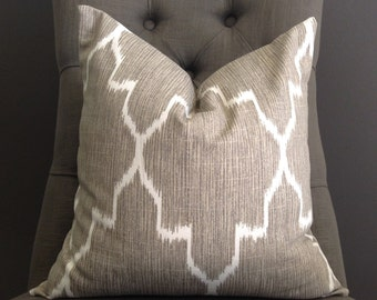 Pillow Cover, Gray Ikat Pillow Cover, EDOM