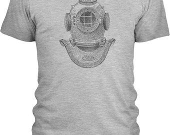 Deep Sea Diver Helmet (Black) - Mens Combed Cotton T-Shirt (Sizes: S - 3XL with 20 Different Color Options)