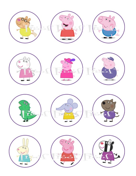 "Peppa Pig 2"" Digital Birthday Party Cupcake Topper Diy Printable"