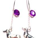 Dachshund 925. sterling silver / Purple Crystals Earrings '' SUSAN '' precious 3D Dachshund Charm