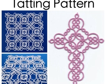 PDF Tatting Pattern: Garden Cross and Square