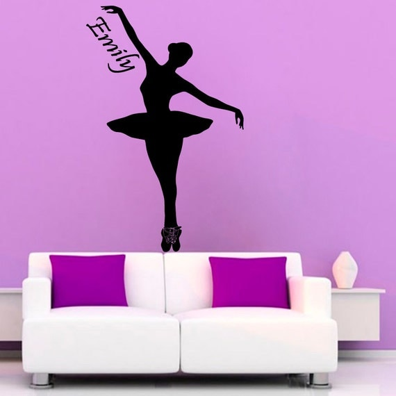 Ballerina wall decals girl personalized name by for Ballerina wall mural