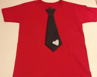 Boys shirt- Black tie with white pin dots & Heart