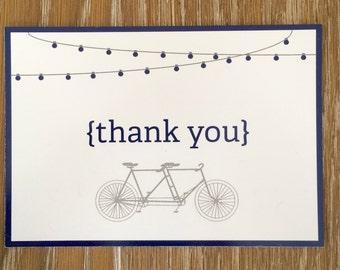 Wedding Thank You, Wedding Thank You Card, Wedding Thank You Postcard: Tandem Bike
