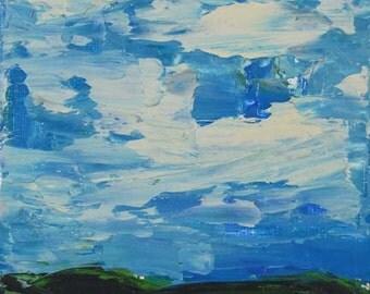 Digital Print. Big Blue Cloudy Sky Landscape Painting. Blue Sky Print. White Clouds. Wall Art Decor. Art Print Gift for Him. 19