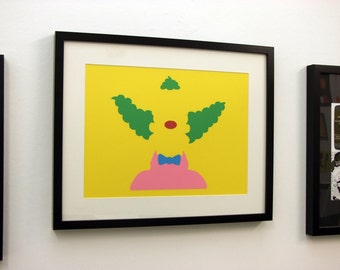 Krusty The Clown Card Cut Out. The Simpsons, Silhouette, Paper Cut - FREE UK P&P