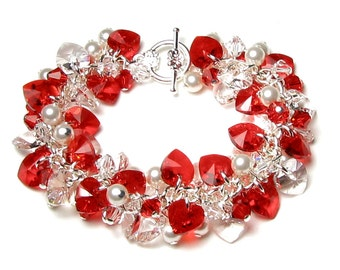 Valentine's Day Swarovski Bracelet Red Heart Crystal Cluster Jewelry for Women Clear Hearts White Pearls Silver Chain Romantic Wedding Gift