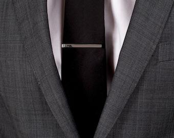Custom hand engraved Tie Bar in solid sterling silver. 4mm wide skinny tie slide or tie clip hallmarked in Dublin Castle, Ireland.