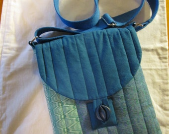 """Original One off Design, Hand dyed, Hand Woven and Quilted Cross Body Bag or Purse 24 x 32 cm (9 1/2"""" x 12 1/2"""") with dustbag as shown"""