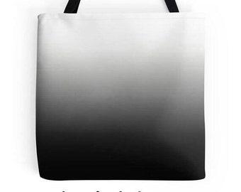 Black White Tote, Black Ombre Bag, Black Gradient Bag, Black White Purse, Black White Tote Bag, Black and White Bag, White Black Accessories