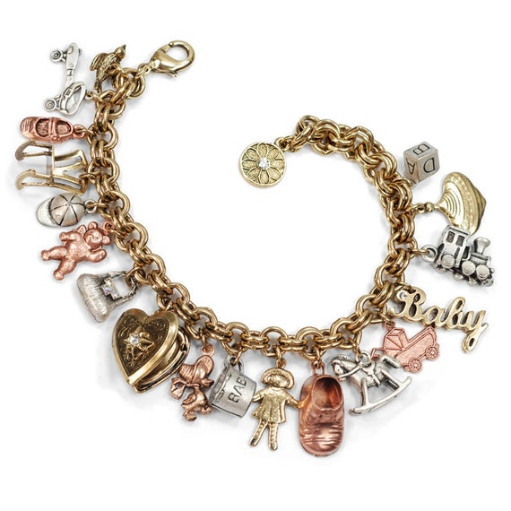 and baby charm bracelet push by shelleycooperjewelry