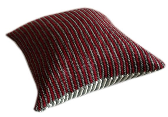 Knitted Striped Decorative Cushion / Pillow Cover Handmade for Sofa or Bed (multi-color stripes: white, burgundy red and moss green)