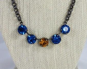 Capri Blue and Topaz 11mm Swarovski Crystal Necklace