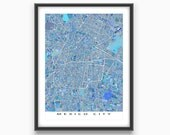 Mexico City Map Art Print, Mexico City Poster, Travel Maps