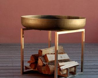 Steel Fire Pit CUBE - Contemporary Design Firepit / Outdoor Heater / Garden Wood Burner / Fire Bowl
