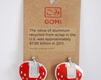 Hand made earnings created from repurposed aluminum.