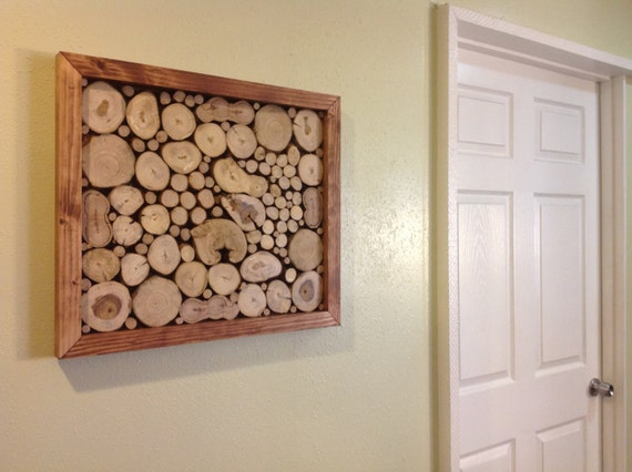 Modern Framed Rustic Wood Slice Wall Art Sculpture Tree Rings Circles