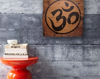 Namaste OHM Sign on Wood, OM, Distressed, Home Decor, Wood Wall Art, Art, Earthy, Rustic, Spiritual, Wall Home Decor, Wood Sign, OM Symbol