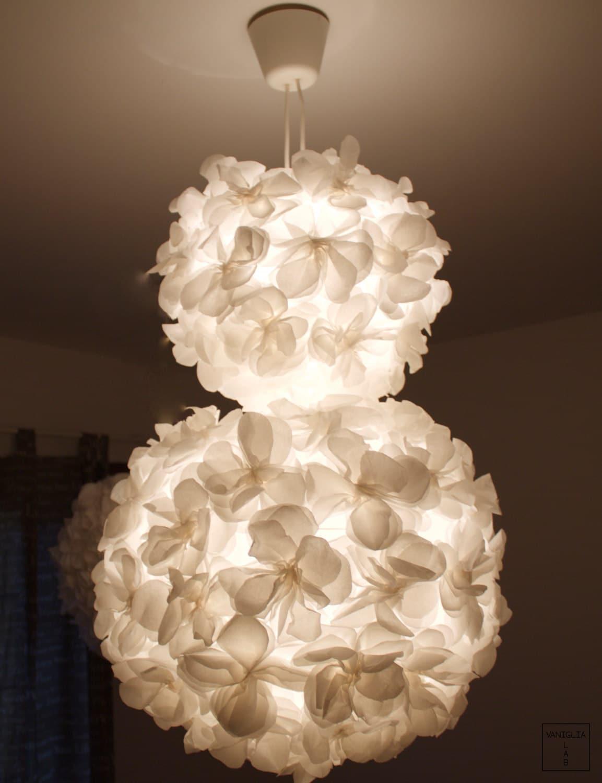 Pendant Lamp White Lamp Shade Paper Flower Double Lamp