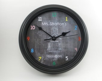 PERSONALIZED School Teacher's Classroom WALL CLOCK
