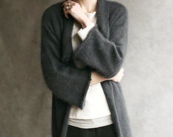 Angora Wool Fluffy Cardigan, Knitted Charcoal/Dark Slate Furry Wrap, Open Sweater Waterfall Collar Hand-Made Cover-Up, Stole, Mohair Shrug