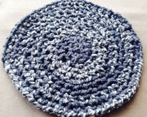 Pet wool placemat vintage crochet rug grey retro feeding mat handmade gift