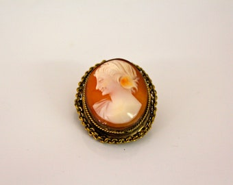 Antique Shell Cameo Set in Gold Tone