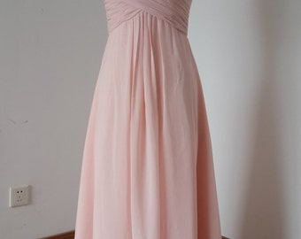 2015 V-neck Pearl Pink Chiffon Long Bridesmaid Dress