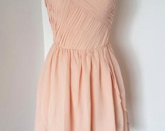 2015 One-shoulder Light Peach Chiffon Short Bridesmaid Dress