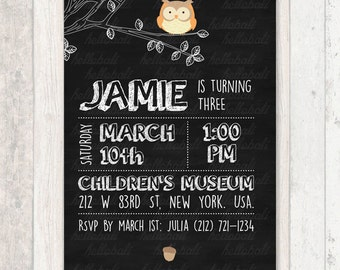 Custom Birthday Invitation, baby shower, blackboard, chalkboard, children, kids, woodland friend, jungle animal, owl [Digital Download]