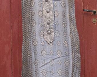 Grey Silk Jaquard