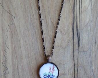 Succulent - mini watercolor gouache art painting print necklace pendant and chain