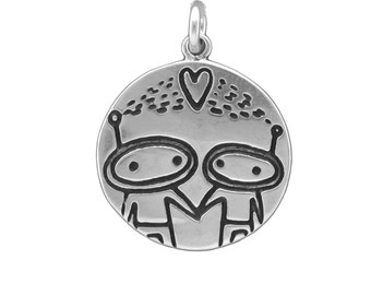 Sterling Alien Love Necklace - Reversible Silver Spaceship and Astronaut Pendant - Sci-Fi Medallion
