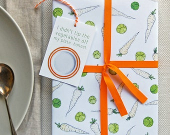 Sprouts And Parsnips Christmas Wrapping Paper Set - Festive Gift Wrap - Quirky Eco Friendly Paper - Children's Christmas Wrap