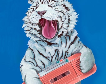 Digital Print of Original Painting White Tiger with Vintage Pink Cassette Radio 4 Different Sizes