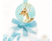 Deer, sticker, Christmas sticker, holiday sticker, reindeer, snowflakes, white berries, holiday decor, blue, white, Christmas gift wrap