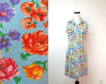 MODA . vintage printed denim dress . size 10 . medium . made in USA