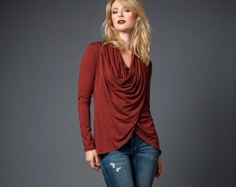 Wraparound bamboo cardigan sweater with draped neckline