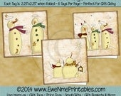 Instant Download - Printable Folding Gift Tags - Snowmen - Digital PDF and/or JPG File