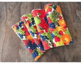 Fabric Napkins - Vintage Fruit Red Green Blue and Orange