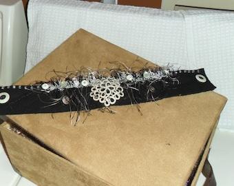 Black and White Doggie Neckwear, Dog Clothes, Fancy Collar, Dog Clothing Accessory, OOAK Dog Neckwear, Handmade Doggie Clothing