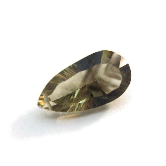 Natural Bio-Lemon Quartz, 1 Large Concave Cut Natural Gemstone, Smoky Quartz & Lemon Quartz Bead, 15mm x 8mm (Luxe-Blq1e)