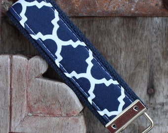 READY TO SHIP-Beautiful Key Fob/Keychain/Wristlet-Navy Lattice On Navy-1