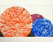 Water Color Yarn Balls in Orange Blue and Purple Limited Edition
