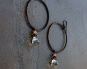 Black Hoop Earrings, Dangle Gemstone Bead Hoop Earrings, Oxidized Silver, Edgy Rustic Boho Jewelry Mystic Smoky Quartz, Gemstone Jewelry