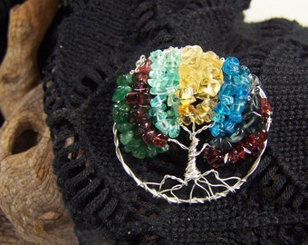 Brooch Pin Birthstone jewelry - Family Tree - Custom - Personalized Gift for Mother in law Grandmother grandma - sterling silver - gemstones