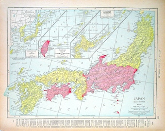 Map baluchistan etsy 1914 antique map japan map and persia afghanistan and baluchistan map world atlas gumiabroncs Gallery