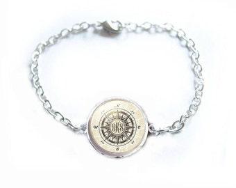 Compass Bracelet, Personalized Monogram Bracelet, Nautical Gift, Gift for Her